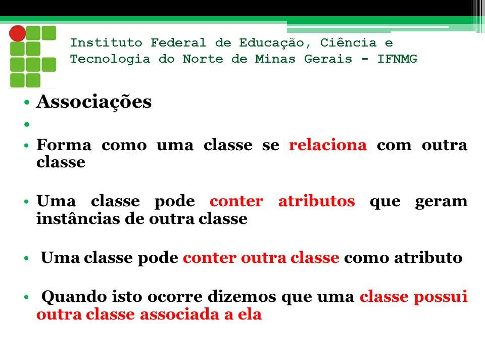 Associações Forma como uma classe se relaciona com outra classe