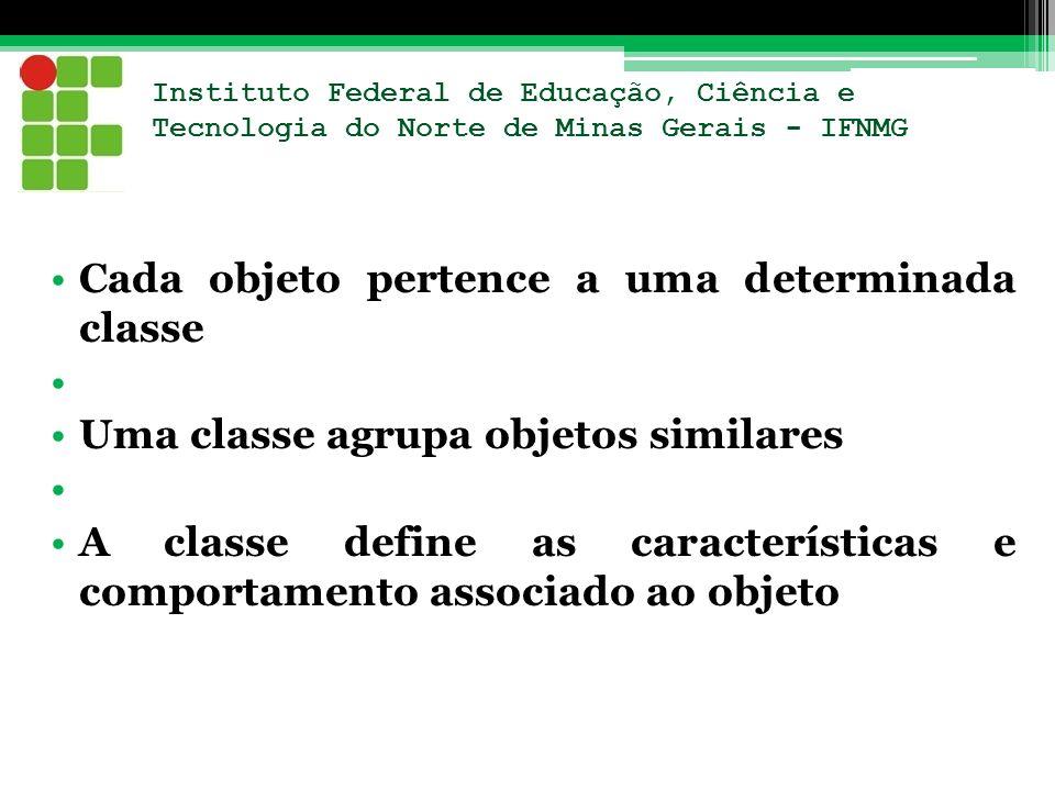 Cada objeto pertence a uma determinada classe