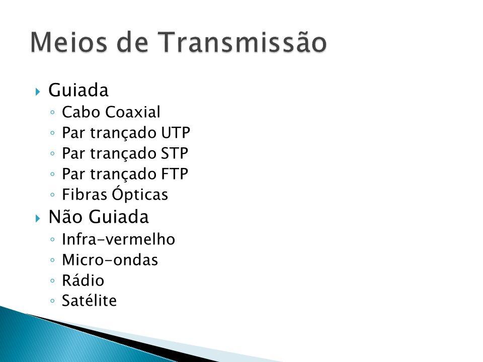 Meios de Transmissão Guiada Não Guiada Cabo Coaxial Par trançado UTP