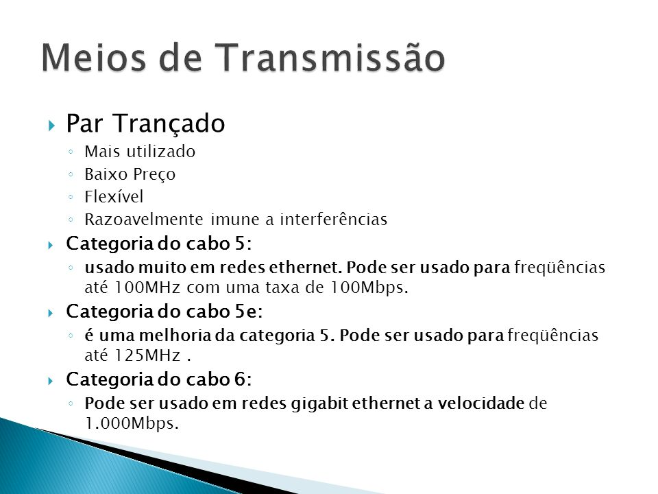 Meios de Transmissão Par Trançado Categoria do cabo 5: