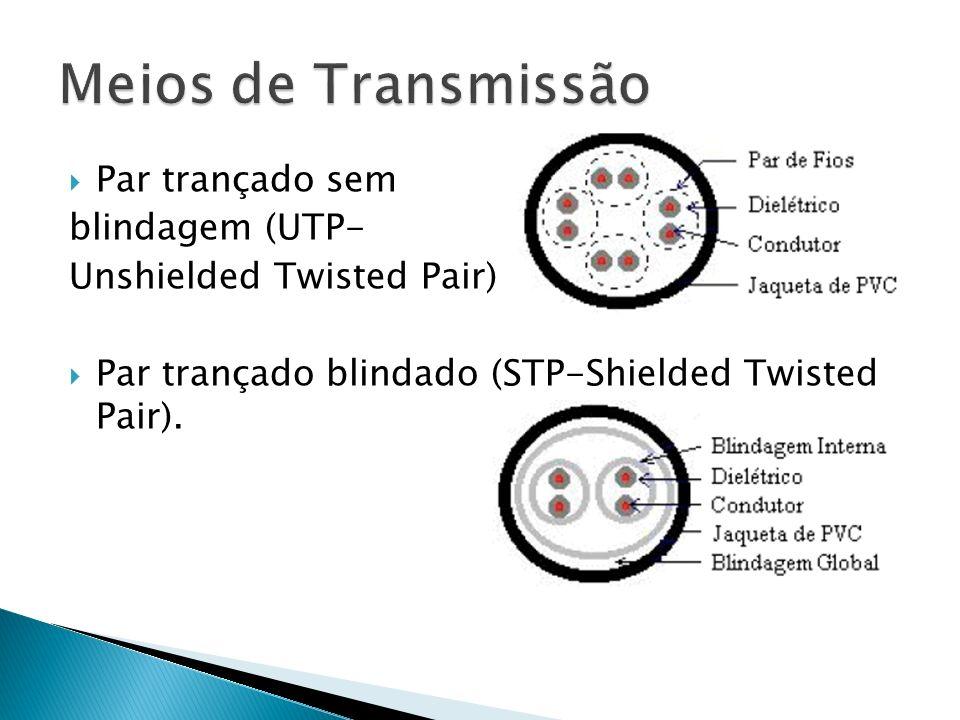 Meios de Transmissão Par trançado sem blindagem (UTP-