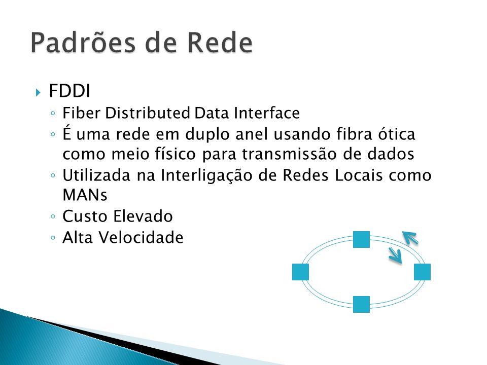 Padrões de Rede FDDI. Fiber Distributed Data Interface. É uma rede em duplo anel usando fibra ótica como meio físico para transmissão de dados.