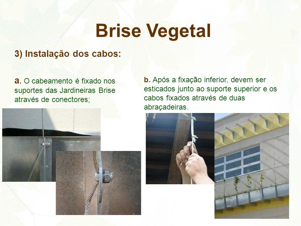 Brise Vegetal 3) Instalação dos cabos: a. O cabeamento é fixado nos suportes das Jardineiras Brise através de conectores;