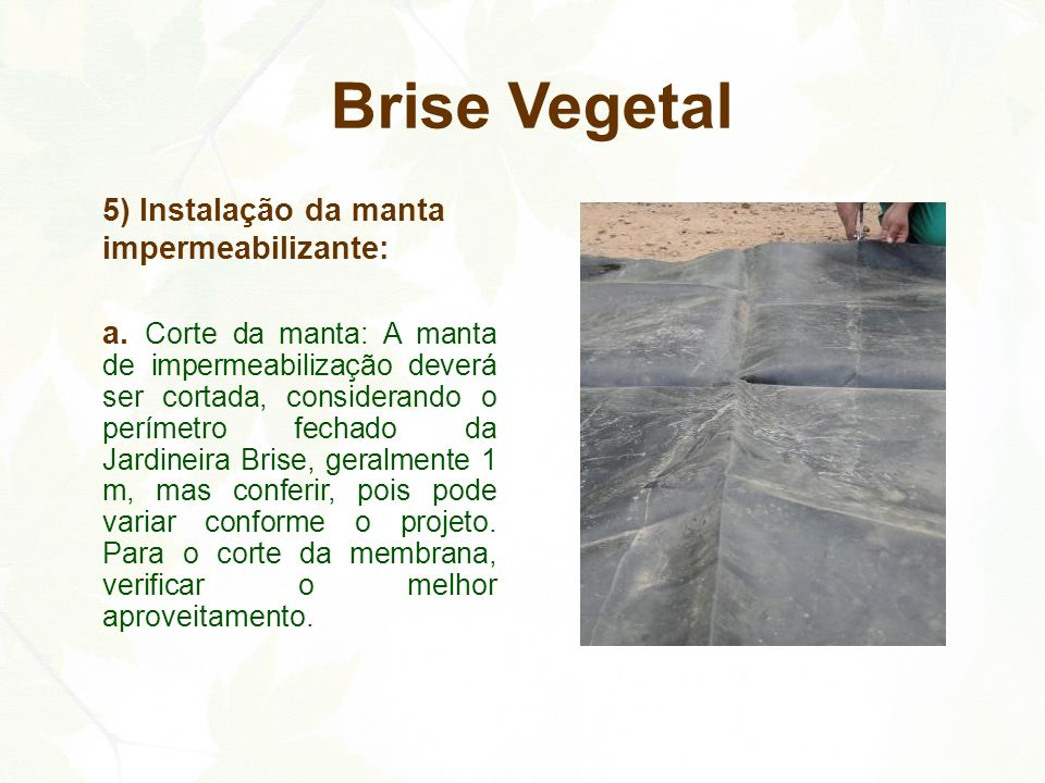 Brise Vegetal 5) Instalação da manta impermeabilizante: