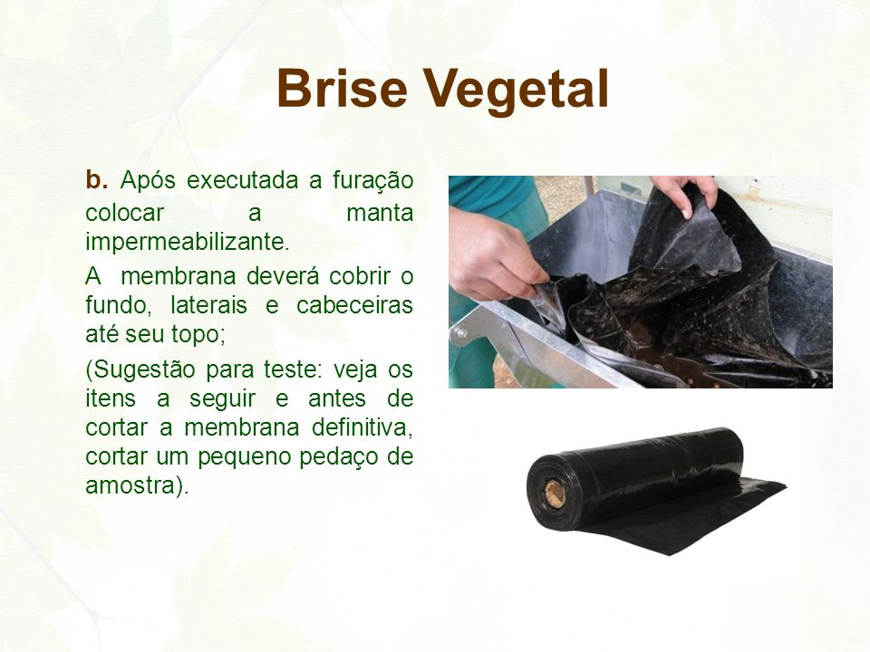 Brise Vegetal b. Após executada a furação colocar a manta impermeabilizante. A membrana deverá cobrir o fundo, laterais e cabeceiras até seu topo;