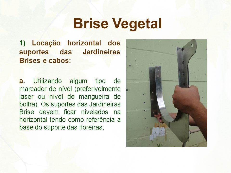 Brise Vegetal 1) Locação horizontal dos suportes das Jardineiras Brises e cabos: