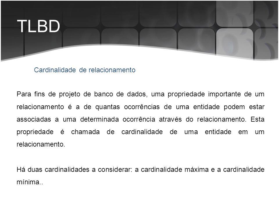 TLBD Cardinalidade de relacionamento