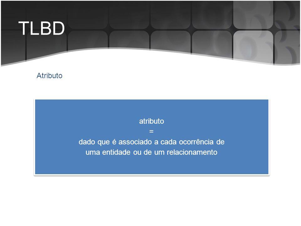 TLBD Atributo atributo = dado que é associado a cada ocorrência de