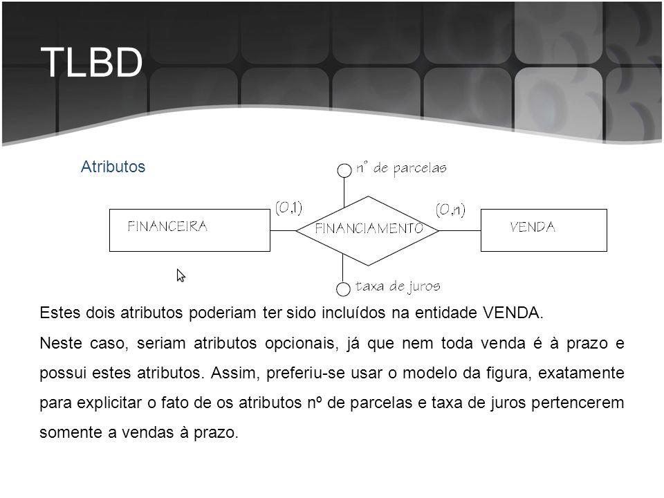 TLBD Atributos. Estes dois atributos poderiam ter sido incluídos na entidade VENDA.