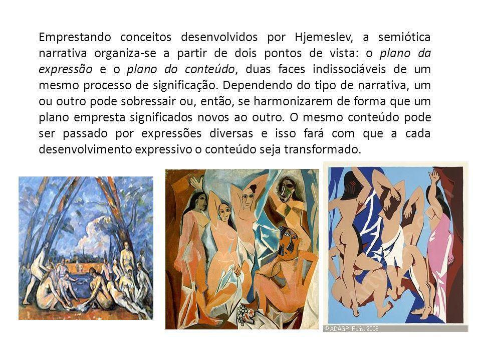 Emprestando conceitos desenvolvidos por Hjemeslev, a semiótica narrativa organiza-se a partir de dois pontos de vista: o plano da expressão e o plano do conteúdo, duas faces indissociáveis de um mesmo processo de significação.