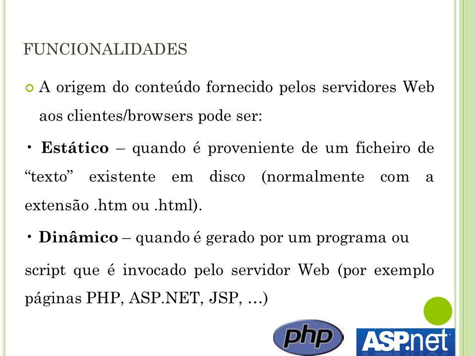 funcionalidades A origem do conteúdo fornecido pelos servidores Web aos clientes/browsers pode ser: