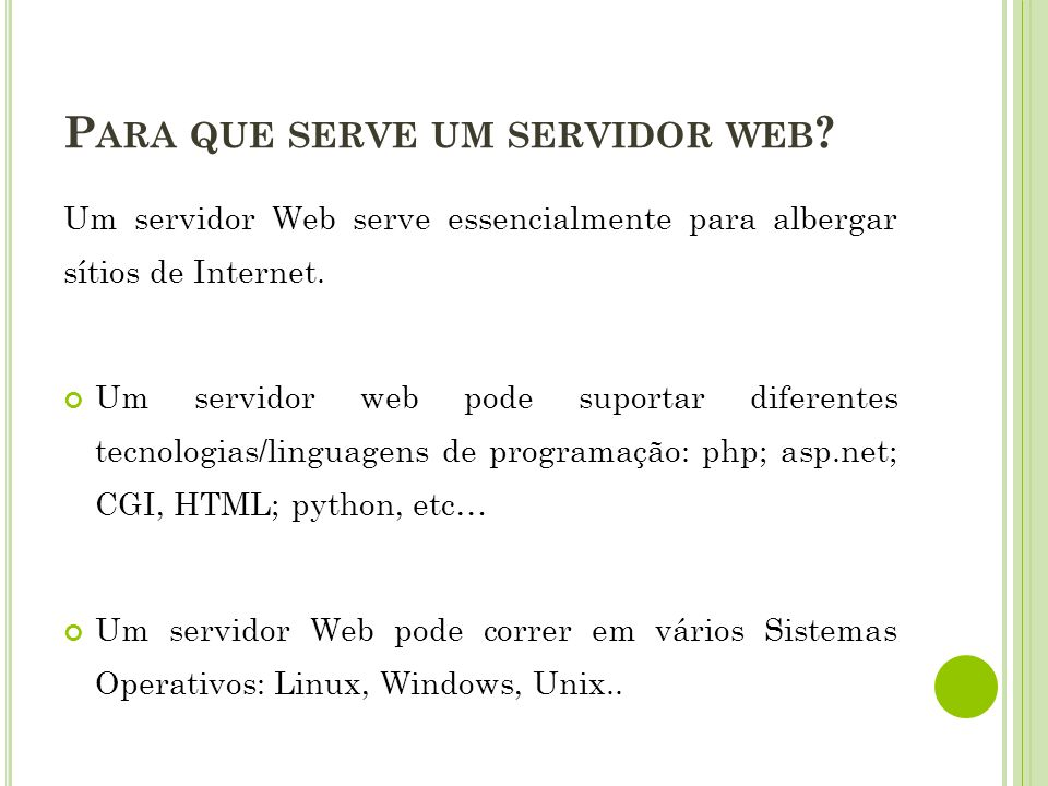 Para que serve um servidor web