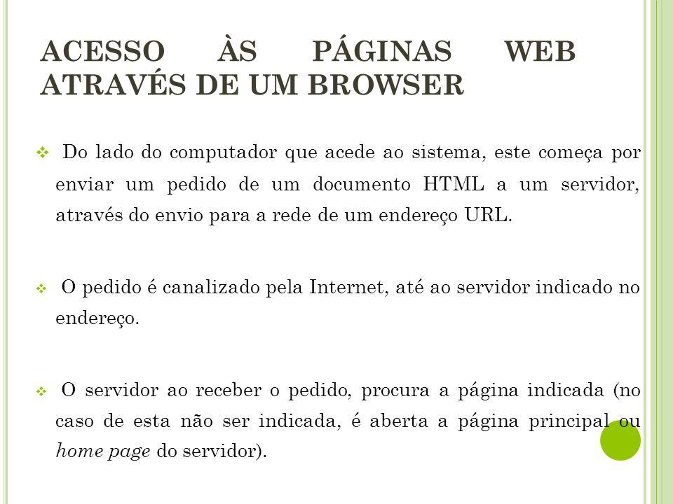 ACESSO ÀS PÁGINAS WEB ATRAVÉS DE UM BROWSER