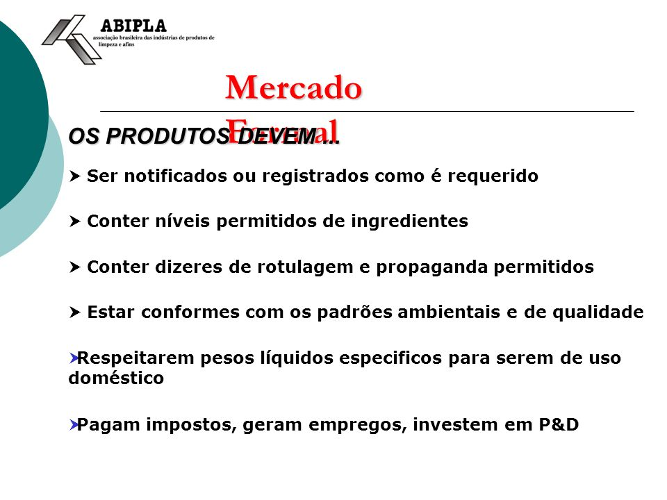 Mercado Formal OS PRODUTOS DEVEM ...