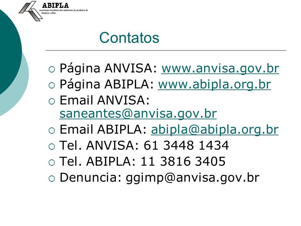 Contatos Página ANVISA: www.anvisa.gov.br