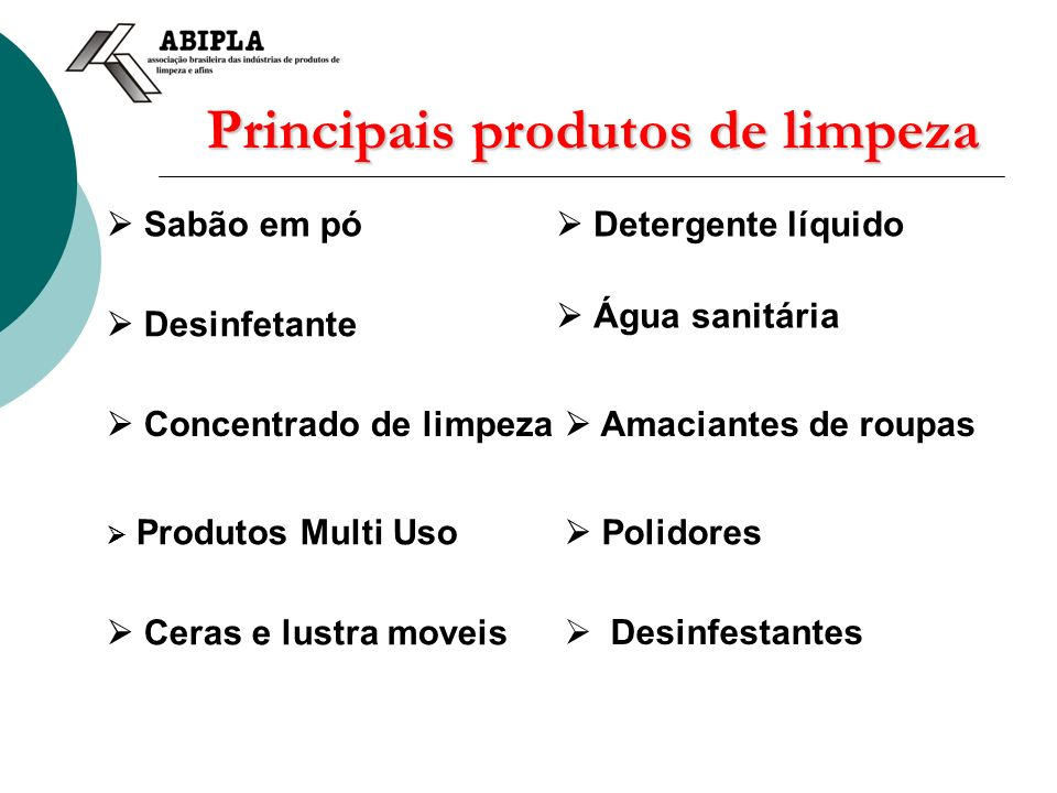 Principais produtos de limpeza