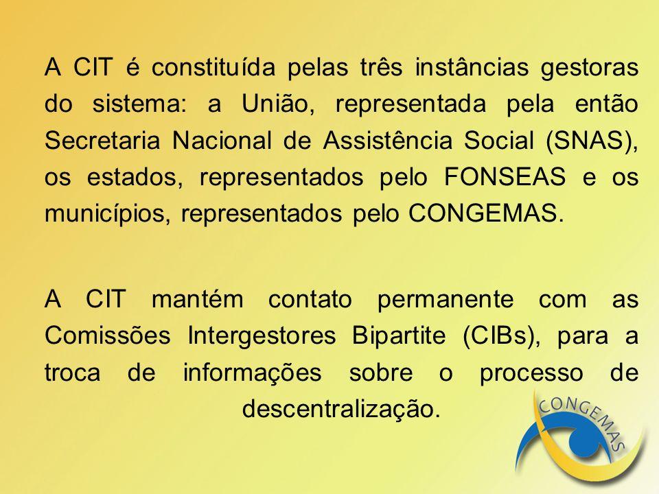 A CIT é constituída pelas três instâncias gestoras do sistema: a União, representada pela então Secretaria Nacional de Assistência Social (SNAS), os estados, representados pelo FONSEAS e os municípios, representados pelo CONGEMAS.