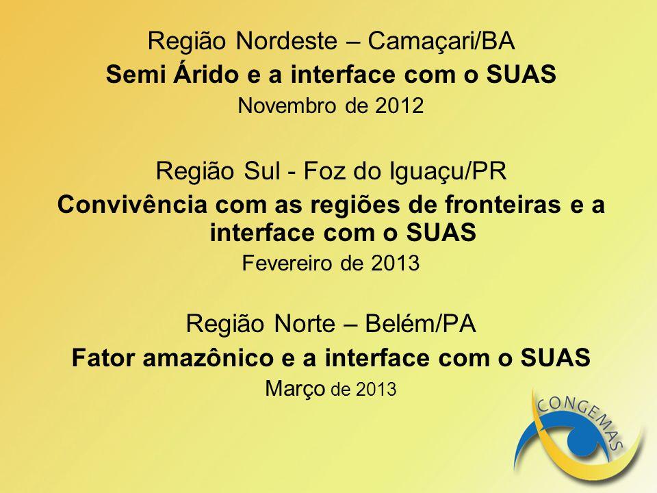 Região Nordeste – Camaçari/BA Semi Árido e a interface com o SUAS