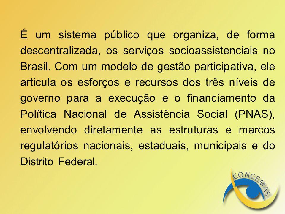 É um sistema público que organiza, de forma descentralizada, os serviços socioassistenciais no Brasil.