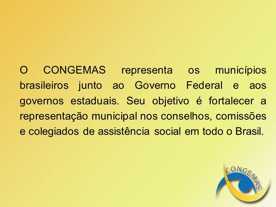 O CONGEMAS representa os municípios brasileiros junto ao Governo Federal e aos governos estaduais.