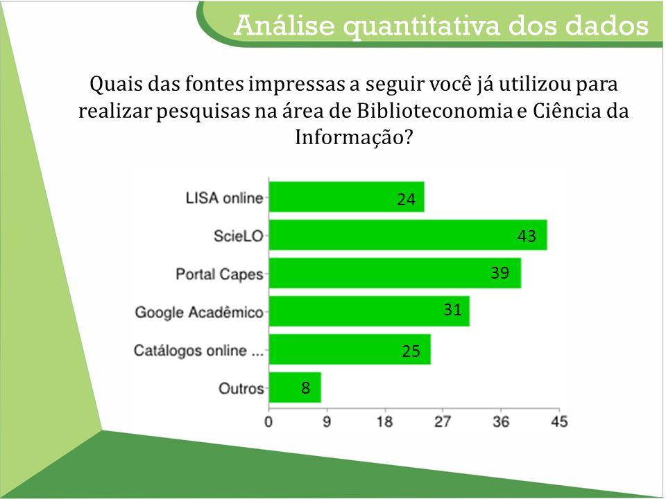 Análise quantitativa dos dados