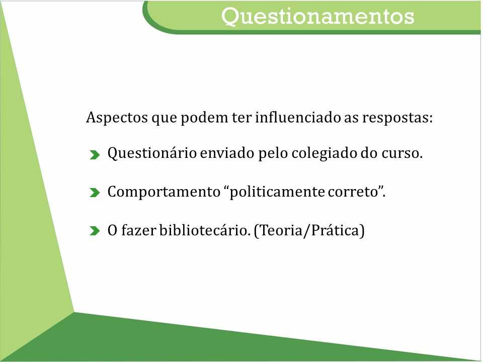 Questionamentos Aspectos que podem ter influenciado as respostas: