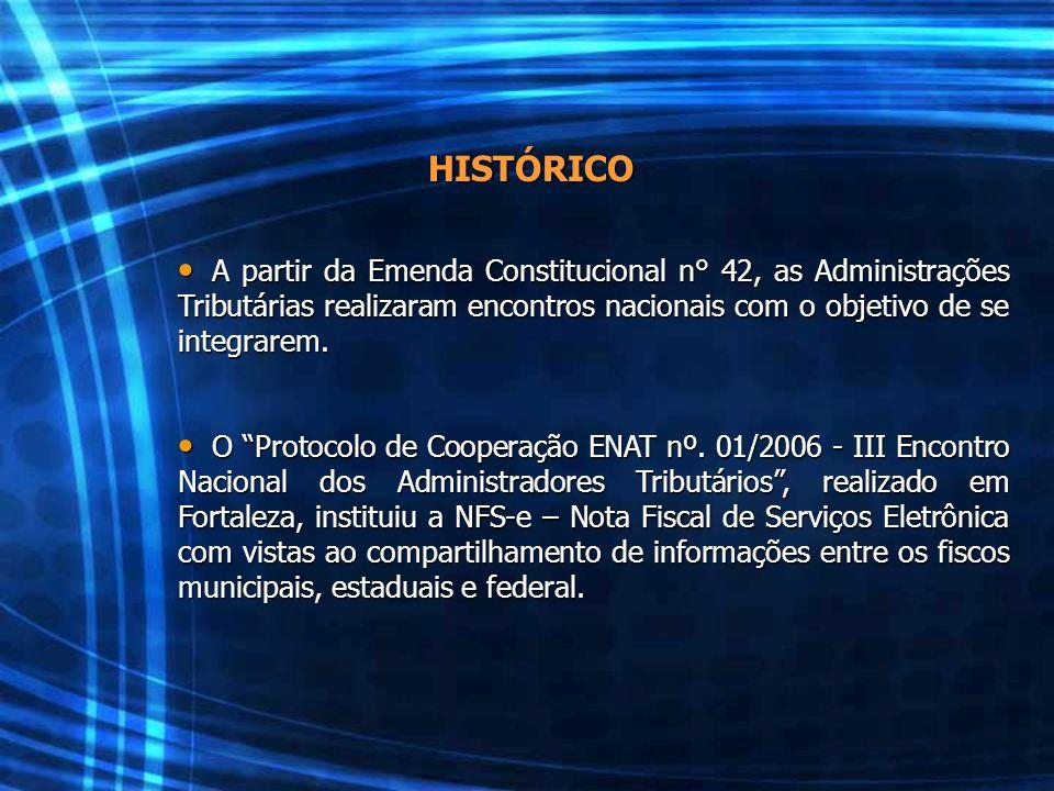 HISTÓRICO A partir da Emenda Constitucional n° 42, as Administrações Tributárias realizaram encontros nacionais com o objetivo de se integrarem.