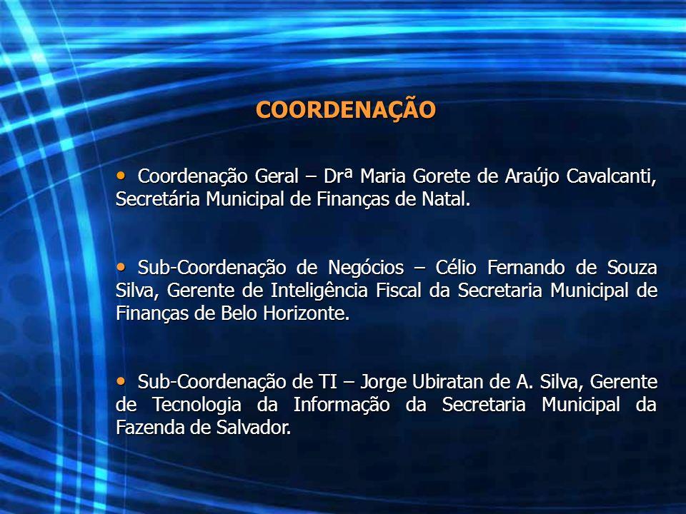 COORDENAÇÃO Coordenação Geral – Drª Maria Gorete de Araújo Cavalcanti, Secretária Municipal de Finanças de Natal.