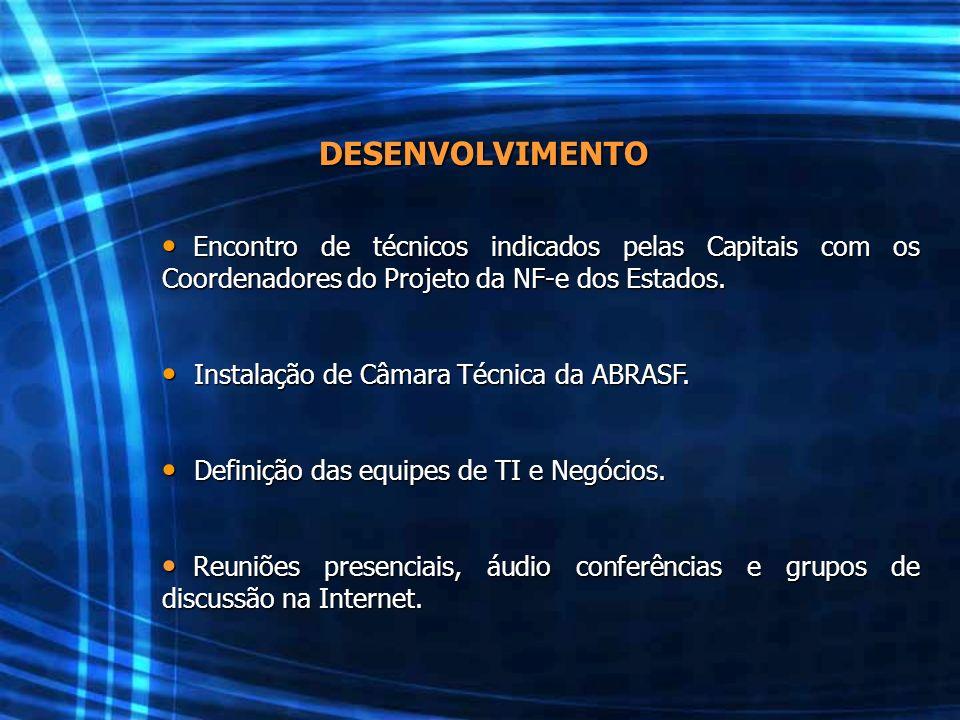 DESENVOLVIMENTO Encontro de técnicos indicados pelas Capitais com os Coordenadores do Projeto da NF-e dos Estados.