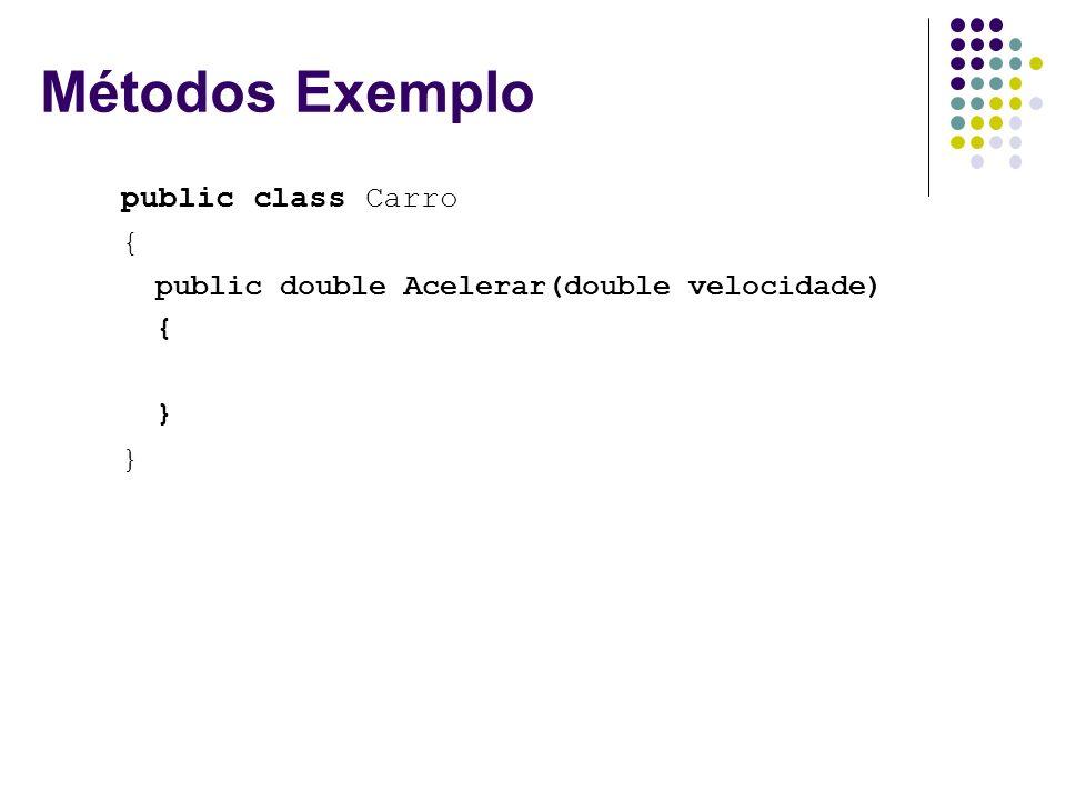 Métodos Exemplo public class Carro {