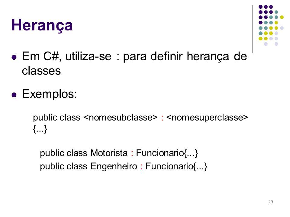 Herança Em C#, utiliza-se : para definir herança de classes Exemplos: