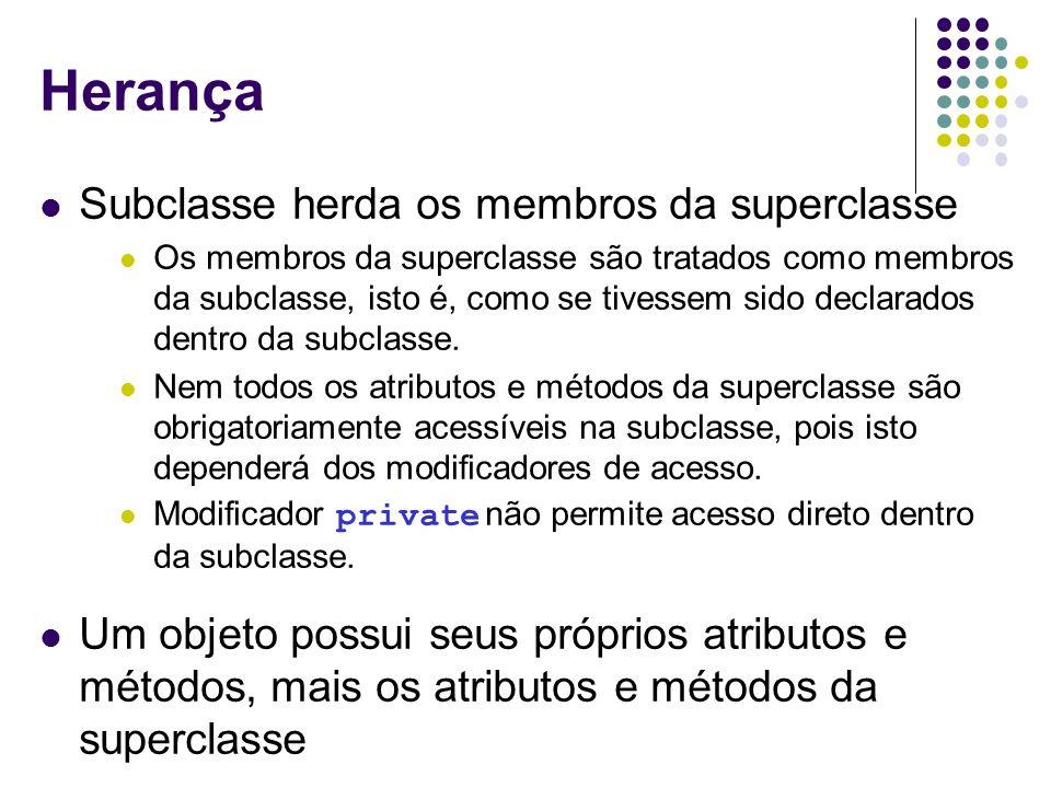 Herança Subclasse herda os membros da superclasse