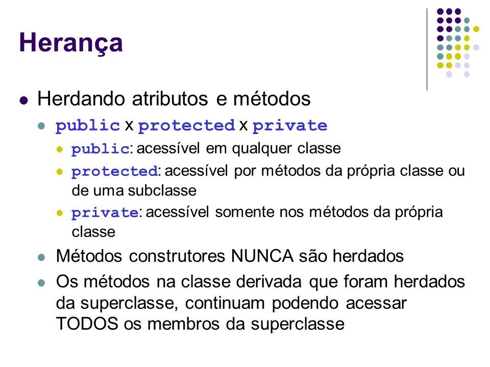 Herança Herdando atributos e métodos public x protected x private
