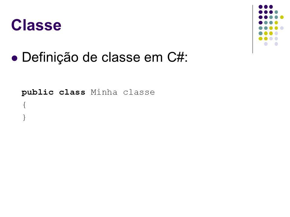 Classe Definição de classe em C#: public class Minha classe { }