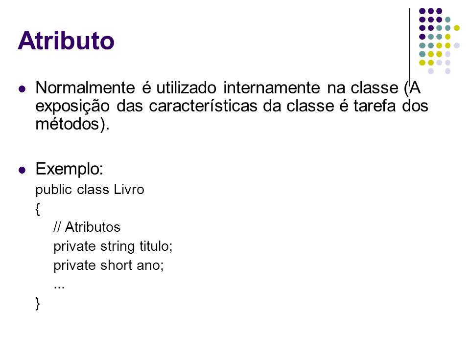 Atributo Normalmente é utilizado internamente na classe (A exposição das características da classe é tarefa dos métodos).