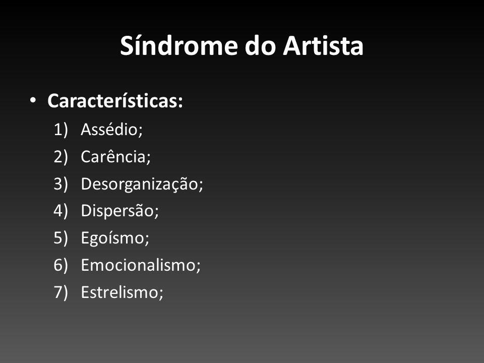 Síndrome do Artista Características: Assédio; Carência;