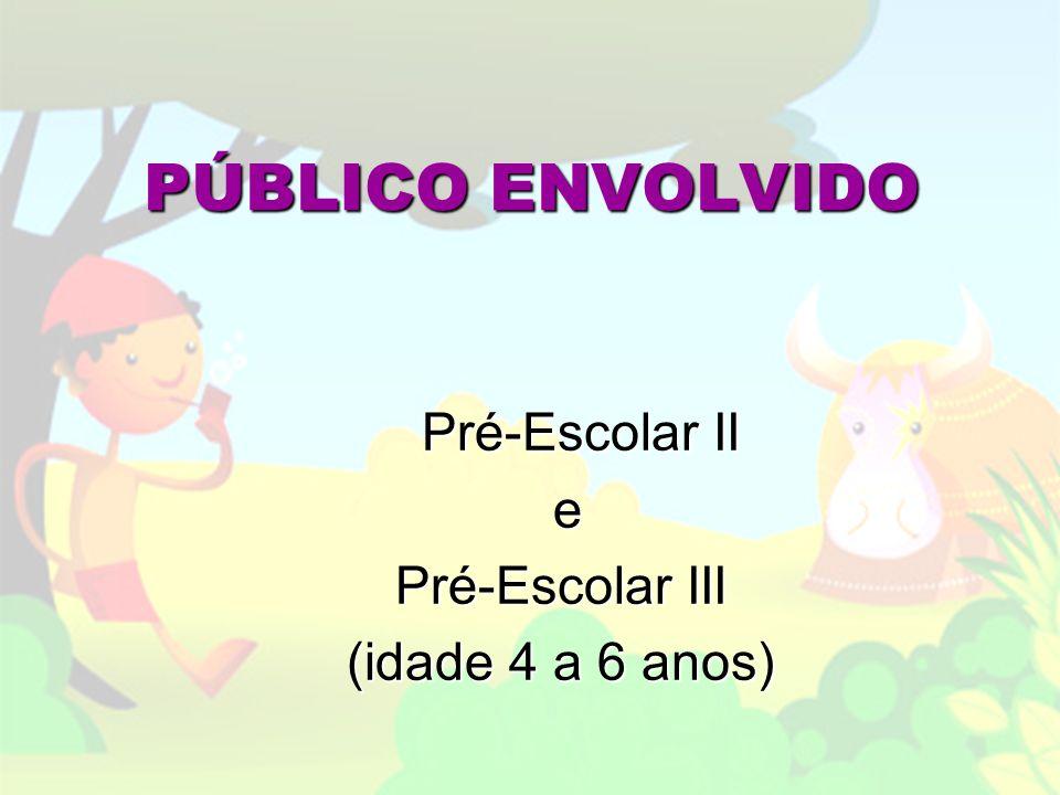 PÚBLICO ENVOLVIDO Pré-Escolar II e Pré-Escolar III (idade 4 a 6 anos)