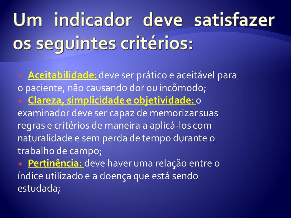 Um indicador deve satisfazer os seguintes critérios: