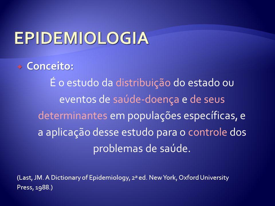 EPIDEMIOLOGIA Conceito: É o estudo da distribuição do estado ou