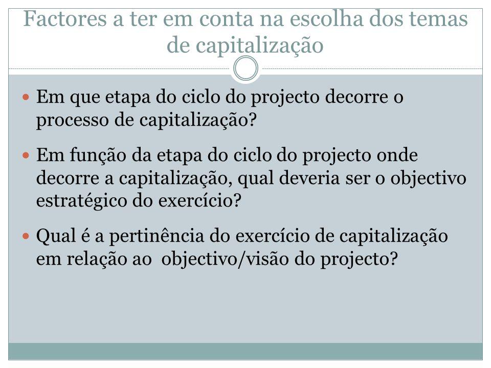 Factores a ter em conta na escolha dos temas de capitalização