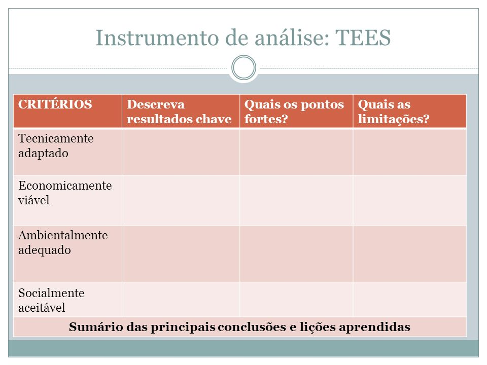 Instrumento de análise: TEES