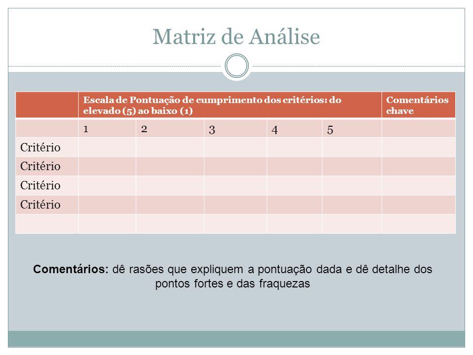 Matriz de Análise 1 2 3 4 5 Critério