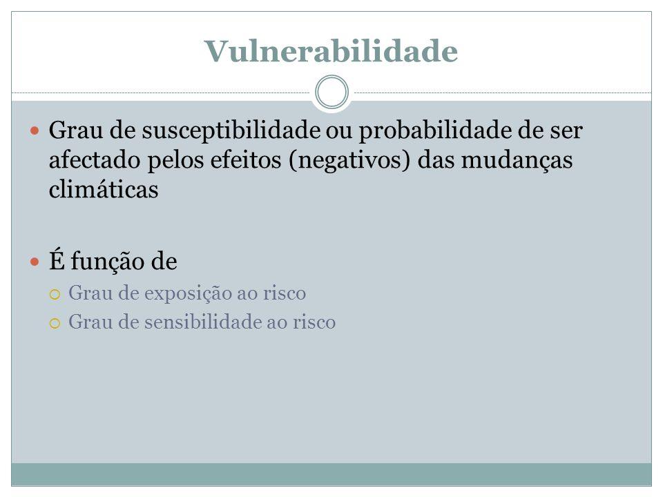 Vulnerabilidade Grau de susceptibilidade ou probabilidade de ser afectado pelos efeitos (negativos) das mudanças climáticas.