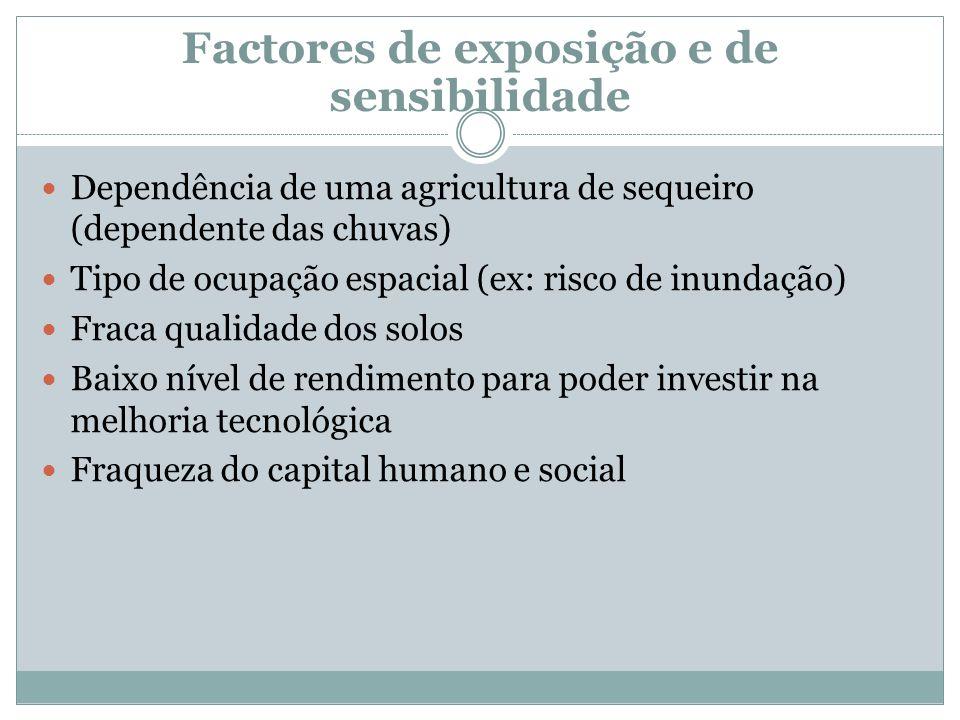 Factores de exposição e de sensibilidade