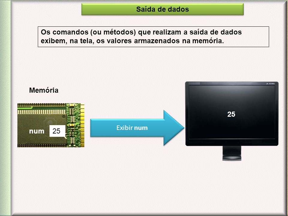 Saída de dados Os comandos (ou métodos) que realizam a saída de dados exibem, na tela, os valores armazenados na memória.