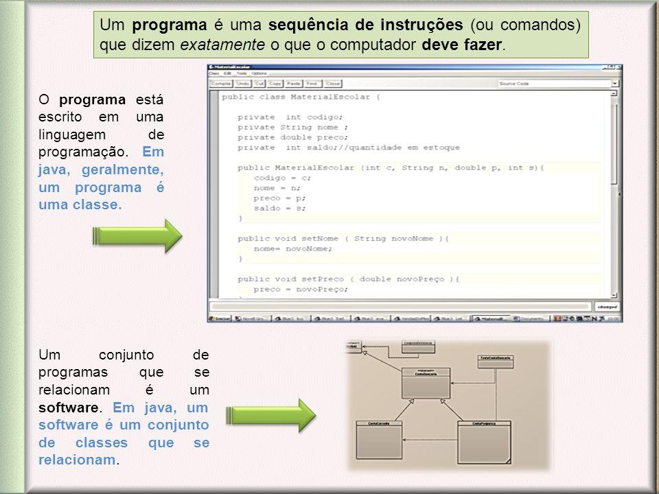 Um programa é uma sequência de instruções (ou comandos) que dizem exatamente o que o computador deve fazer.