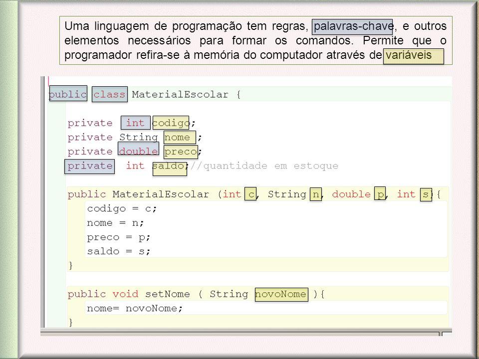 Uma linguagem de programação tem regras, palavras-chave, e outros elementos necessários para formar os comandos.