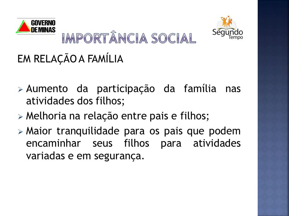 IMPORTÂNCIA SOCIAL EM RELAÇÃO A FAMÍLIA