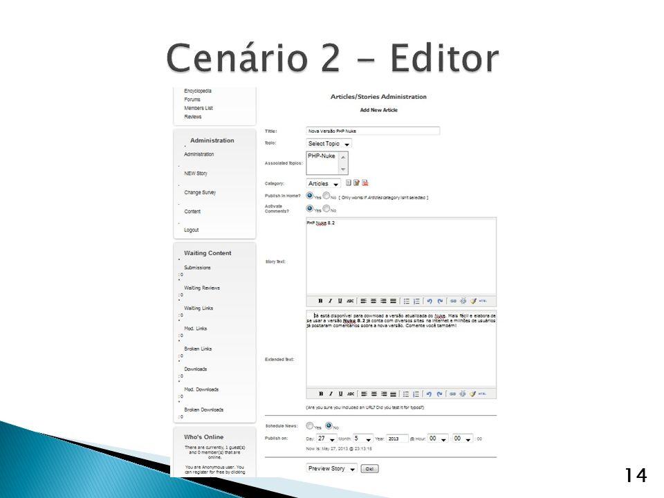 Cenário 2 - Editor