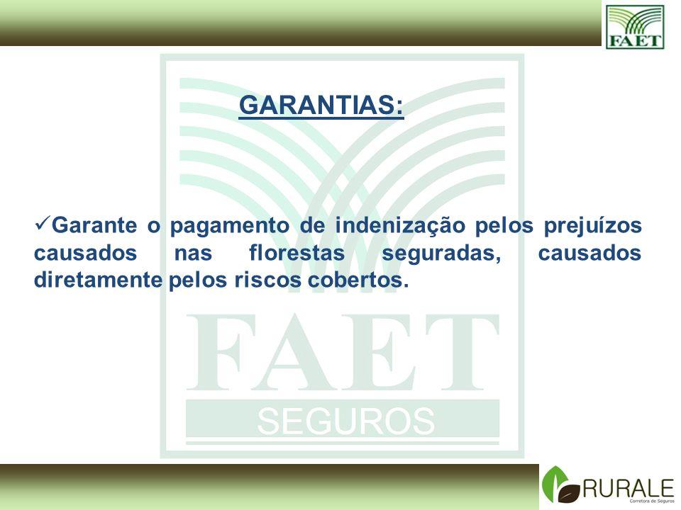 GARANTIAS: Garante o pagamento de indenização pelos prejuízos causados nas florestas seguradas, causados diretamente pelos riscos cobertos.